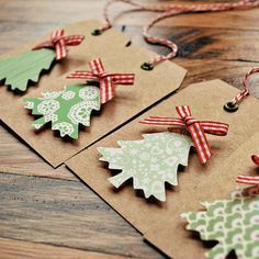 I love the simplicity of this....Christmas tree gift tags DIY. Use the foam stick tabs to give the trees height.