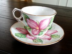 Antique Royal Stafford Pink Trillium tea cup and ♥ by Pickedtwice, $38.00