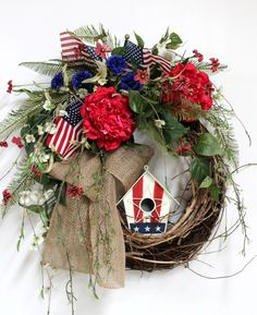 Patriotic Front Door Wreath, American Birdhouse, Fourth Of July, Memorial Day, Country Wreath, American Flags