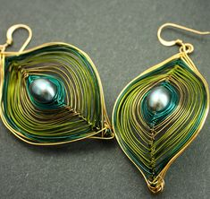 Olive Green and Gold Peacock Earrings Ships Free to US Small or Large