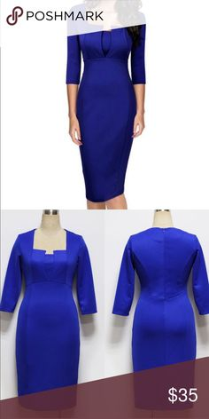 "Coming soon: Blue Tight Elegant Midi Dress ""Like"" to be notified when it arrives. Dresses Midi"