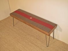 Modern Hairpin Leg Bench with Vintage Wool Blanket and Stained Pine Frame (Swiss Army Camp Blanket) on Etsy, $175.00