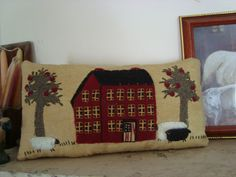PRIMITIVE FOLK ART ~ HOUSE AND SHEEP ON OLD FABRIC PILLOW #NaivePrimitive