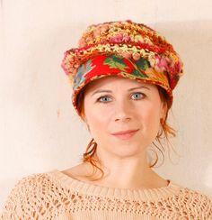 Red crochet hat Crochet newsboy Woman chunky knit Red newsboy hat Slouchy hat Summer hat woman Warm hat Crochet newsboy Yellow red hat.  via Etsy.  http://www.etsy.com/listing/123829967/red-crochet-hat-crochet-newsboy-woman