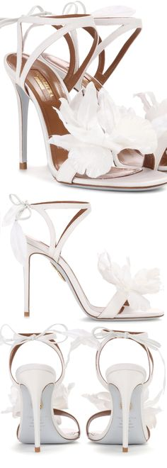 Aquazzura Flora 105 embellished sandals, with Big Lillies Flowers. Great Bridal Shoes, or Black and White Rade Day Fashions. Fashions on the Field. Bridal Brides Wedding Shoes. #racingfashion #shoes #wedding #flowers #florals #affiliate #bridalwear #killerheels #floralfashion