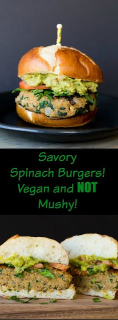 Delicious and easy to make Spinach Burgers. Made with chickpeas and fresh spinach, and lot's of flavor!