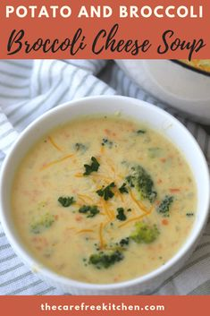 This Creamy Potato Broccoli Cheese Soup has chunks of potato, lots of fresh broccoli, and has so much flavor! This potato soup recipe is quick and easy. Broccoli Soup Recipes, Broccoli Cheese Soup, Fresh Broccoli, Brocolli Salad, Broccoli Casserole, Broccoli Cheddar, Dutch Oven Recipes, Chef Recipes, Cooking Recipes
