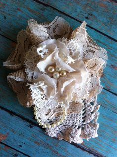 Burlap & Lace Flower Applique/ Lampshade Embellishment/ Magnetic/ Bridal Accessory, Decor/ Shabby Chic Decor/ Flower Brooch Pin/ Ivory Lace on Etsy, $14.50