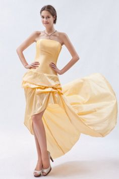 Strapless Classic Yellow Celebrity Gowns - Order Link: http://www.theweddingdresses.com/strapless-classic-yellow-celebrity-gowns-twdn2069.html - Embellishments: Ruched; Length: Floor Length; Fabric: Taffeta; Waist: Natural - Price: 154.95USD