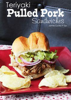 Teriyaki Pulled Pork Sandwiches from Jamie Cooks It Up!   I think this one is worth a try but I'll use my own teriyaki sauce on it.  I like ginger in mine and this one doesn't have any.