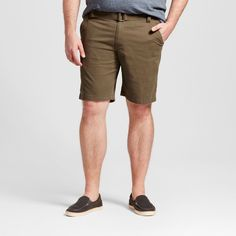 Men's Big & Tall Belted Flat Front Chino Shorts Olive (Green) 58 - Mossimo Supply Co.