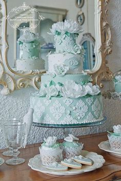 """""""Sea Foam"""" Wedding Cake-Stencils & White Flowers with Cupcakes & Cookies to match."""