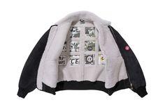 C.E Sheepskin Bomber Jacket black white red patch