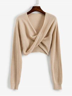 V Neck Cropped Twist Front Sweater - Apricot S Faux Col, Pullover Sweaters, Sweater Cardigan, Pull Court, Green Lipstick, Dresses For Work, Dresses With Sleeves, Animal Print Dresses, Two Piece Outfit