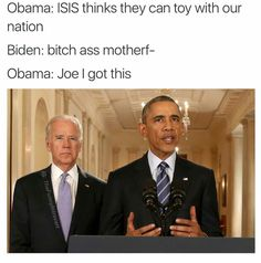 Go Joe 10 Hilarious President Obama and Vice-President Joe Biden Memes. You rarely see the behind the scene interactions between the President and the Vice-President, but if you did, you wo Joe Biden Meme, Funny As Hell, Funny Cute, The Funny, Hilarious, Funny Shit, Funny Memes, Super Funny, Joe And Obama