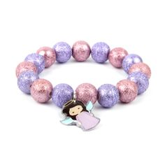 Learn how to make this cute Little Angel Bracelet using our new pink and purple crepe style acrylic round beads!
