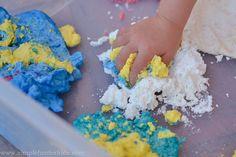 Sensory Activities for Kids: Foam dough made from shaving cream and cornstarch - such a super fun texture!