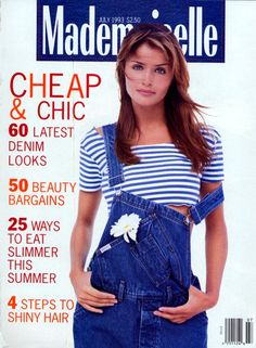 Mademoiselle July 1993 (Cover) Model: Helena , had this issue! Patrick Demarchelier, Helena Christensen, 90s Fashion, Fashion Models, High Fashion, Fashion Beauty, Mademoiselle Magazine, Overalls Fashion, Fashion Magazine Cover
