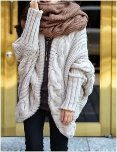 Wire Knit Over Sized Cardigan With scarf