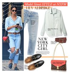 """""""Lily Aldridge  in NYC"""" by swweetalexutza ❤ liked on Polyvore featuring RE/DONE, Gucci, StreetStyle, NYFW, NYC, modelstyle and lilyaldridge"""