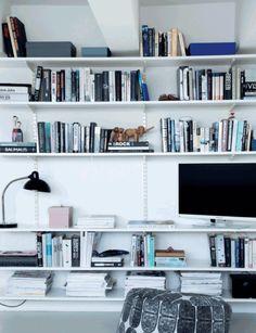 Gravity Home : Source: Femina Bookcase Shelves, Shelving, Ikea Book, Ikea Algot, Space Interiors, Piece A Vivre, House Inside, Living Room Tv, Medan
