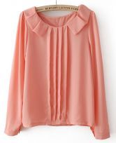 Pink Long Sleeve Pleated Chiffon Blouse $23.23  #SheInside