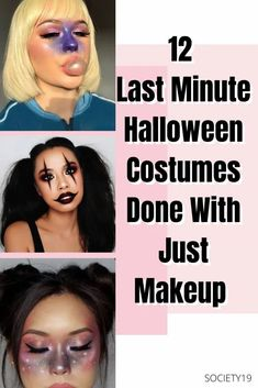 12 Last Minute Halloween Costumes Done With Just Makeup Classic Halloween Costumes, Last Halloween, Cool Halloween Makeup, Halloween Looks, Halloween Dress, Halloween 2020, Halloween Party, Funny Costumes, Easy Costumes
