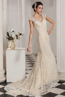 V-neck Lace Champagne Sheath Wedding Dress With Wide Lace Straps