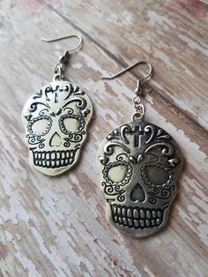 Order yours now! https://www.etsy.com/listing/523526597/large-silver-skull-earrings-sugar-skull
