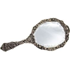 Detailed Silver Hand Mirror One Kings Lane ($15) ❤ liked on Polyvore featuring home, home decor, mirrors, fillers, mirror, accessories, beauty, decor, scroll mirror and silver home decor