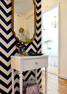 entryway, chevron walls