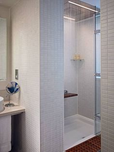 A ready-made shower pan is designed with a sloping non-slip surface. The slope allows the water to drain. No need to build a curb and pan an...