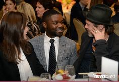 (L-R) Actors Angelina Jolie, David Oyelowo and Brad Pitt attend the 15th Annual AFI Awards Luncheon at Four Seasons Hotel Los Angeles at Beverly Hills on January 9, 2015 in Beverly Hills, California.  (Photo by Michael Kovac/Getty Images for AFI)