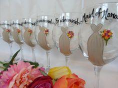 Personalized Bridesmaid Wine Glasses - Hand Painted Wine Glasses - Bridesmaid Wine Glasses