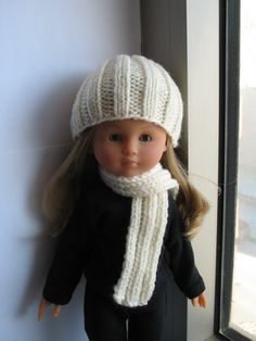 Corolle Les Cheries Hand Knit Hat and Scarf by PachomDollBoutique, $10.99