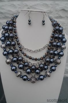 "CHUNKY MULTI STRAND ACRYLIC FAUX GREY PEARL SILVER TONE METAL NECKLACE SET WITH ACRYLIC BEAD ACCENTS         NECKLACE: 24"" L + 3"" EXT       HOOK EARRINGS           COLOR: GREY AND SILVER TONE   $24.99"