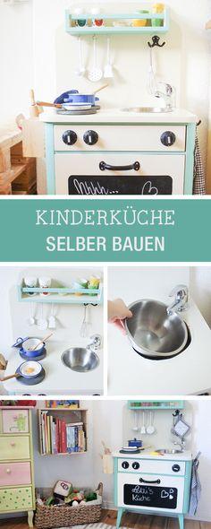 DIY fürs Kinderzimmer: Kinderküche selberbauen, Kinderzimmer Deko / diy furniture for the nursery: play kitchen for kids via DaWanda.com