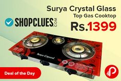 Shopclues #DealoftheDay is offering 77% off on Surya Crystal 3 Burners Automatic Glass Top Gas Cooktop Just Rs.1399.  Shopclues Coupon Code – SC01TY11  http://www.paisebachaoindia.com/gas-cooktop-3-burners-automatic-glass-top-only-in-rs-1399-shopclues/
