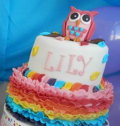 Owl cake with rainbow ruffles