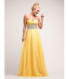 2014 Prom Dresses - Yellow Chiffon Stone Basque Gown (40760-CIN7926) van Cinderella Divine Moto - This elegant chiffon g...Price - $224.00-dEHIG8Gv