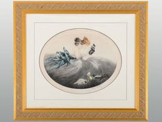 Vintage original dry point etching Puppet Show by Louis Icart signed in pencil in lower margin, circa 1921. Appraised at $4,000.