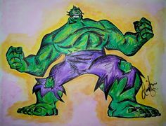 """Hulk"" Drawing/Watercolor 2015 - indiaSheana www.indiaSheana.com"