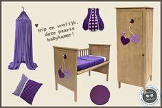 Hip en Vrolijk, deze paarse babykamer. Co-sleeper en kast: www.lieve-ledikantjes.nl, Hemeltje: Jollein, Lamp en Kussen: Little Dutch, Kleed: Kwantum