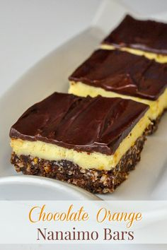 Chocolate Orange Nanaimo Bars - a new no-bake recipe with a twist on the classic Canadian treat, the Nanaimo bar. Here the sweet center gets infused with tangy orange flavour. Ideal Christmas cookies for the freezer.