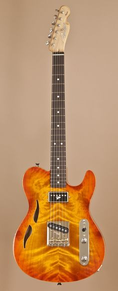 "Hand-Crafted RUOKANGAS ""Mojo Grande 223"" Semi-Hollow Electric Guitar in Sunburst (Unknown mfg date)..."