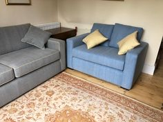 The small loveseat measures 137 cm x 85 cm and is covered in Warwick Fabrics Jeans sky fabric. Cushions are Linwood beeswax. Sofa Bed, Couch, Bespoke Sofas, Warwick Fabrics, Cushion Filling, Cribs, Love Seat, British, Cushions