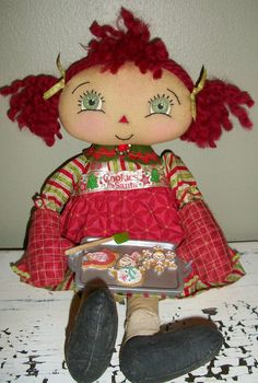 Handmade Christmas Rag Art Doll by Debbie Vierkant
