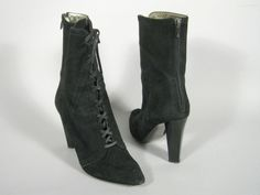 ea3f220c4a94 Diane von Furstenberg Boots Size 9.5 M Suede Black Lace Up Heels Mid Calf  Solid