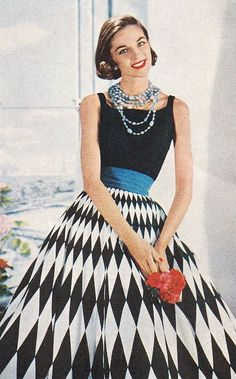 Fashion for Vogue Patterns, 1955. She should be going to a fabulous cocktail party!