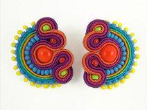 Soutache Earrings, Crochet Earrings, Magenta, Etsy, Orange, Macrame, Beads, Vintage, Jewelry